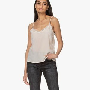 ANINE BING SILK AND LACE CARACO top in nude size S